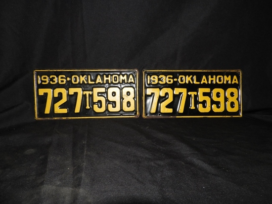 1936 truck tags, pair