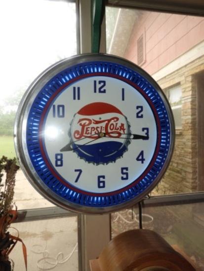 Modern Pepsi Cola decorator spinner neon clock