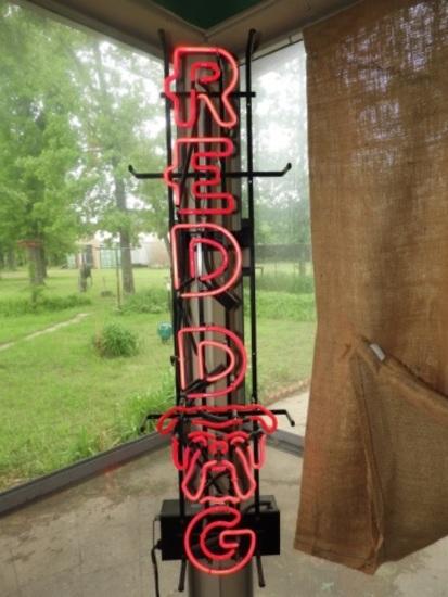 "Red Dog neon light, 40""Tx11""W"