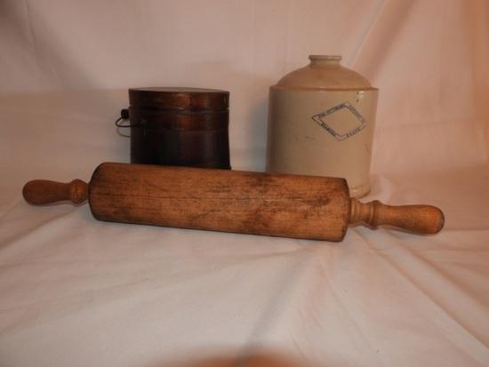 Wooden firkin w/ lid, bale, primitive rolling pin