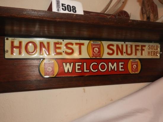 "Honest snuff tin sign, 6""Tx27""W"