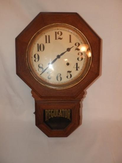 Regulator hanging clock, time & chime, oak case
