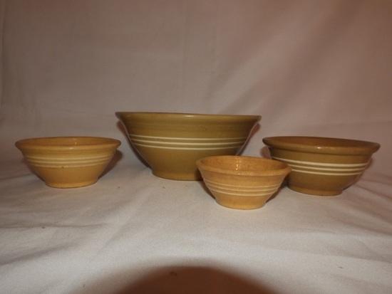 """4 yellow ware bowls, 9 1/2"""", 6"""", 5 1/2"""" & 4 1/2"""""""