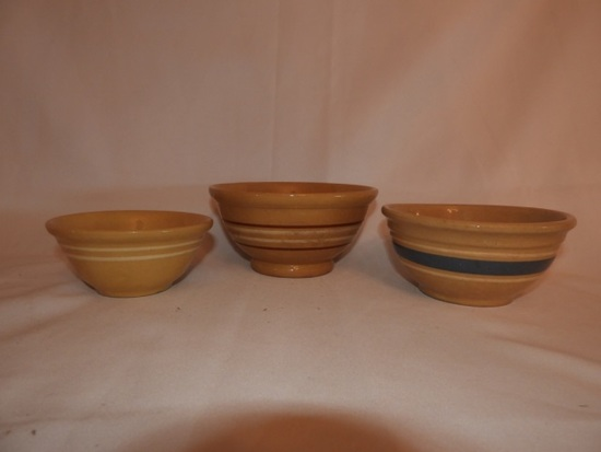 3 yellow ware multi stripe bowls