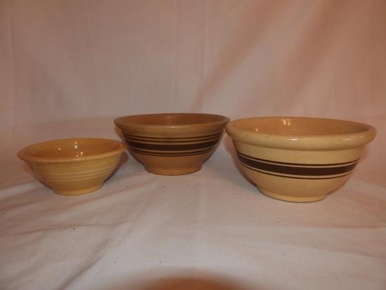 "3 crockery bowls, 9 1/4""x 8 1/4"", 6 1/4"""