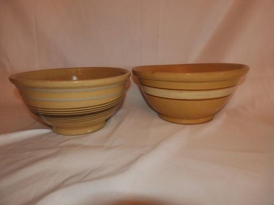 """2 crockery bowls, multi stripe, 13"""", 11"""""""