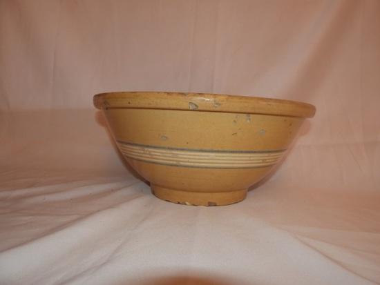 "Large yellow ware bowl, 16"""
