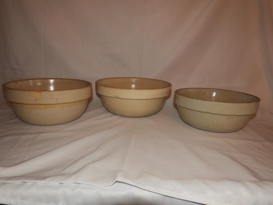 "3 crockery dough bowls, 12"", 2-10 1/2"""