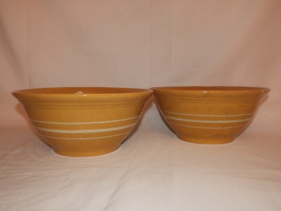 2 reproduction yellow ware bowls by Ragon House