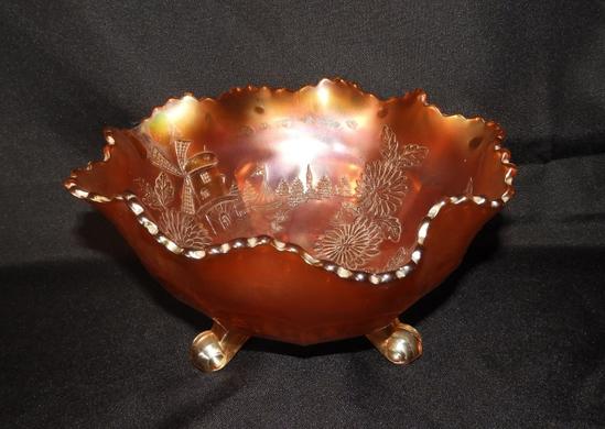 "Marigold Carnival ruffled edge bowl, 9"""