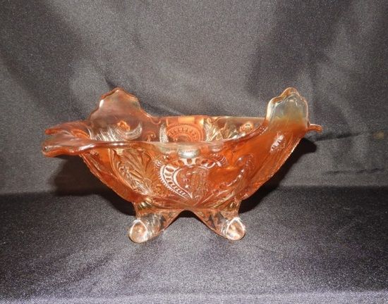 """Marigold Carnival bowl 11 1/2"""", footed"""