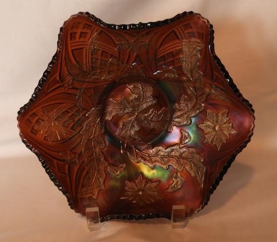 """Amethyst Carnival ruffled edge bowl, 10"""""""