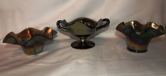 3 pcs Carnival glass, 1 with chip on base