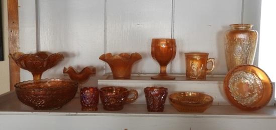 12 pcs pedestal ruffled edge bowls, glasses