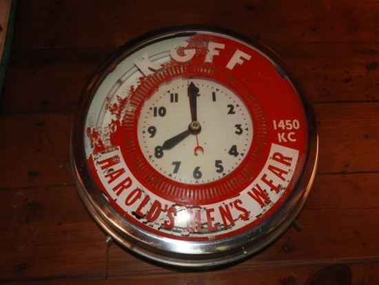 Advertising clock w/ neon, condition unknown, 18""