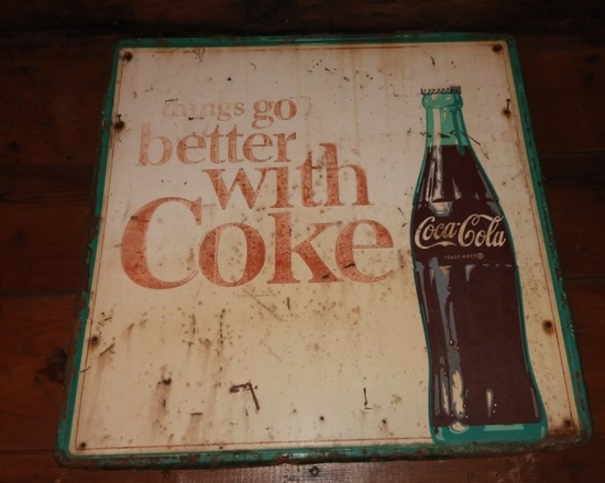 "Things go better with Coke tin sign, 23""x23"""