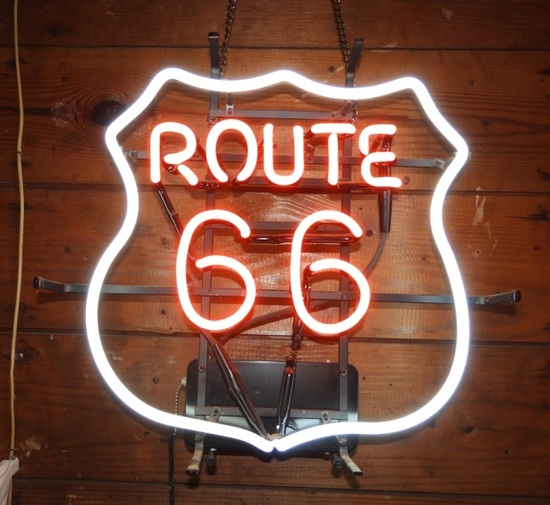 "Modern Route 66 neon sign, 17""Tx18""W"