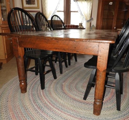 """Primitive wood harvest table, 30""""Tx84""""Wx45""""D"""