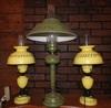 2 matching yellow tin lamps & metal green lamp