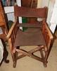 Unusual folding wooden rocker w/ leather seat