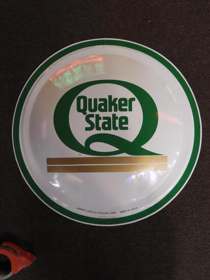 """Quaker State tin oval sign, 24"""""""