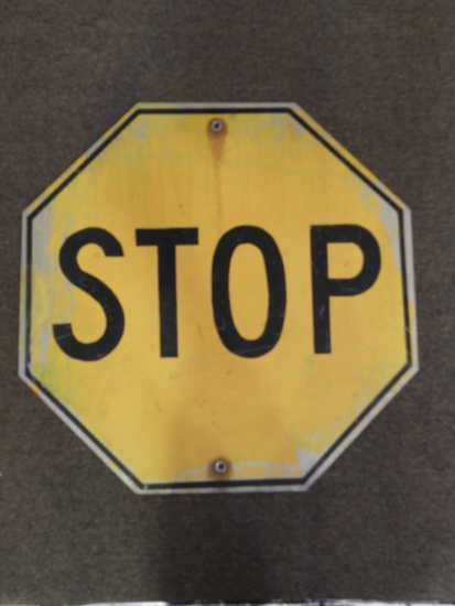 """Yellow Stop sign, SS aluminum, 24"""""""