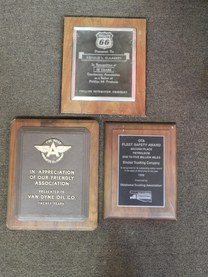 Group of 3 plaques, Phillips 66, Oklahoma Trucking