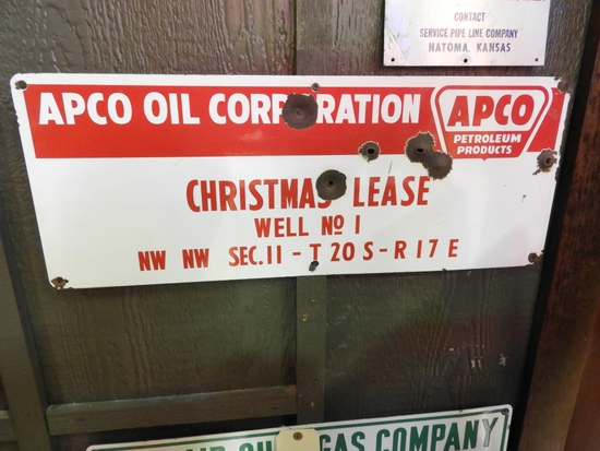 """Apco lease sign """"Christmas Lease Well No. 1"""" SSP"""