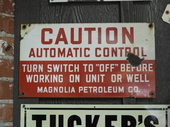 Magnolia Petroleum Company Caution Automatic Contr