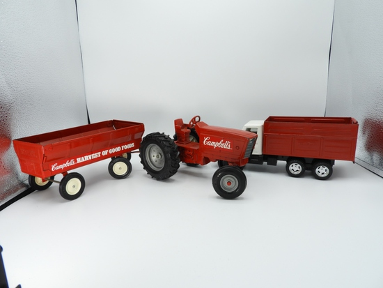 2 pcs - Ertyl tin and plastic Campbell's truck