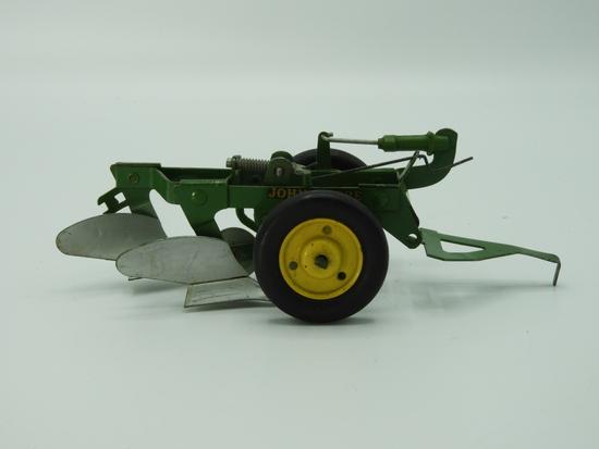 "Tin John Deere 2 bottom drag plow, 7""Lx2""T"