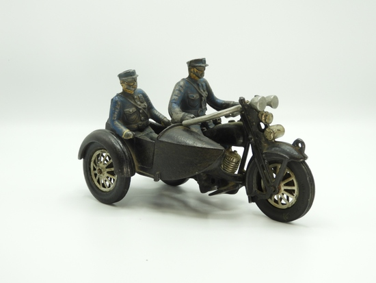 Hubley cast iron motorcycle with side car