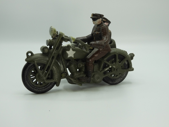 Cast iron military motorcycle w/ side car