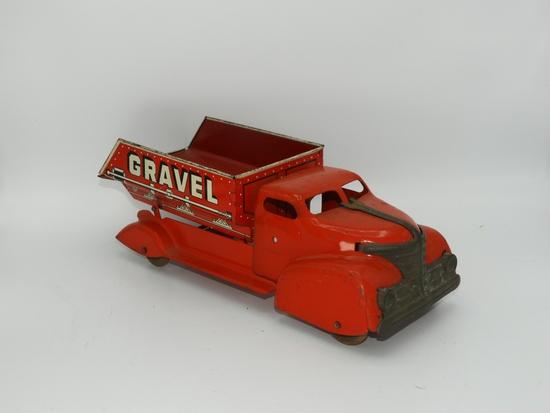 "Marx stamped tin dump truck ""Sand"""