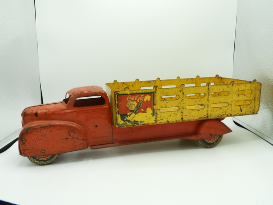 """Marx stamped steel Coca-Cola stake side truck, 20"""""""