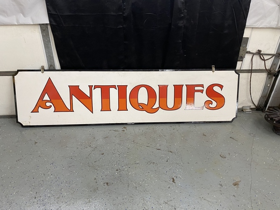 """Antiques, DS wood, by Weddle Signs, 96""""x24""""x1"""""""