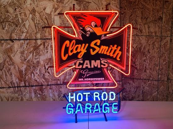 Hot Rod Garage tin neon sign, 30 in.