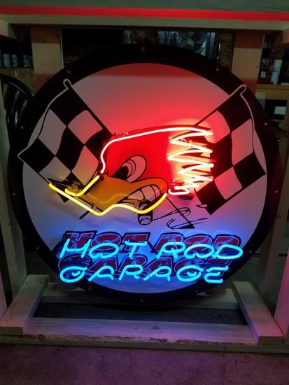 Hot Rod Garage tin neon sign, 36in