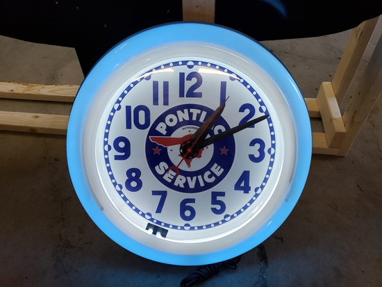Pontiac neon clock, restored, 26in