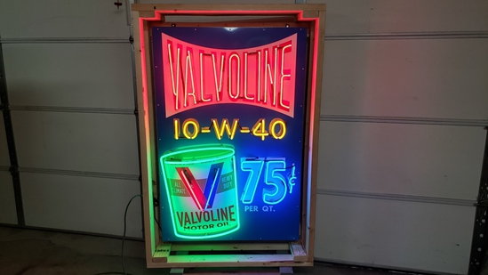 Valvoline tin neon sign, with flasher, 36x55in
