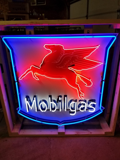 Mobilgas tin neon sign, with flasher, 48x48in