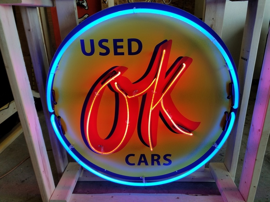 OK used cars tin neon sign, 36in