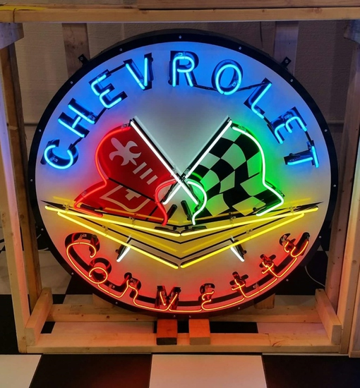 Corvette tin neon sign, 48x48in
