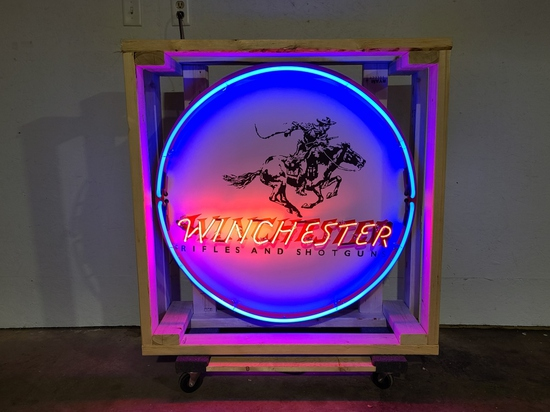 Winchester tin neon sign, 36in
