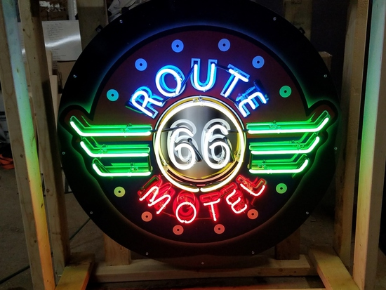 Route 66 Motel tin neon sign, 36in