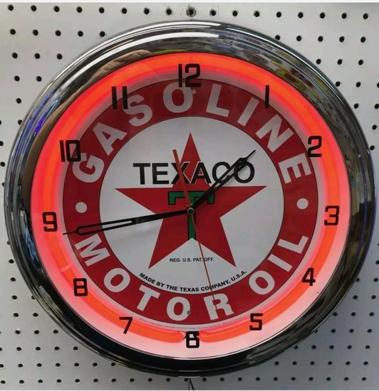 Texaco neon clock, 20in