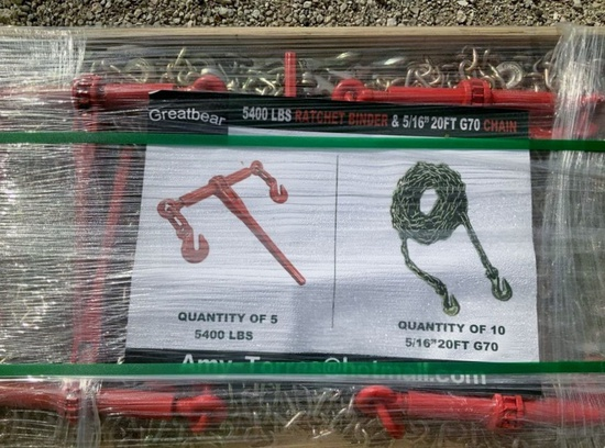 Greatbear Ratchet Binder and Chain 5,400 lbs. - New!