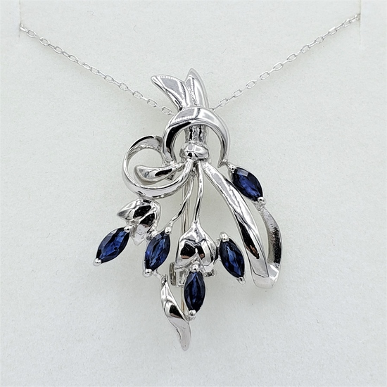 Sterling Silver Sapphire Brooch/Pendant & Chain - New!