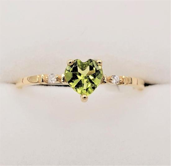 Yellow Gold Peridot & Diamond Heart Ring - New!