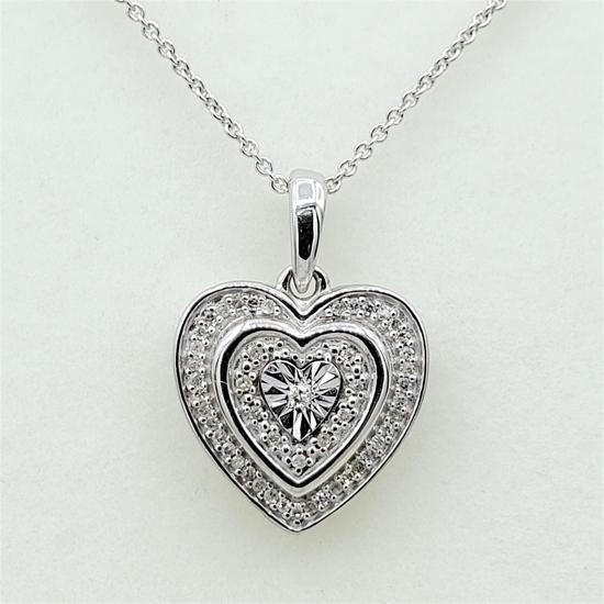 Sterling Silver Diamond Heart Pendant & Chain - New!
